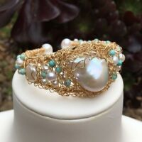 White freshwater Baloque pearl 14KGF Bracelet Original works AAA