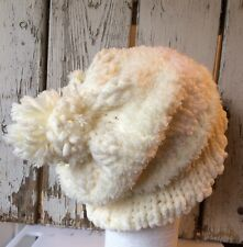 Hand Knitted Winter Hat Slouch Beanie ivory Boutique Trendy Ladies Teens
