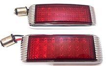 Pair Flush Fit Universal Chrome Art Deco Hot Rod LED Tail Lights Chrome Finned