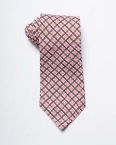 "Isaia Napoli $295 NWT Pink Brown White Plaid Pattern 100% Linen Tie 3.3"""