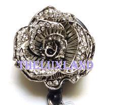 Retractable ID badge holder reel w/ Bulldog Clip - Rhinestone Flower Rose