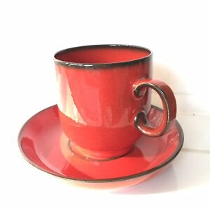 THOMAS Germany Cup and Saucer Flammfest Flame Red  Height 7.5cm / 3 inches