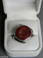 Rare Men's Victorian Circa 1906 Sterling Intaglio Carnelian Ring Sz13 by Fisher