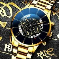 Business Men Luxury Watch Stainless Steel Date Sport Analog Quartz Wrist Watch~