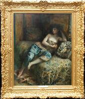 LUCIEN LAURENT GSELL FRENCH 1900 ORIENTALIST PORTRAIT OIL PAINTING HAREM WOMAN