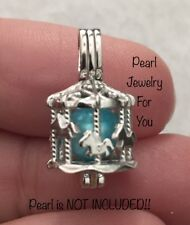 CAROUSEL HORSES Pearl Cage STERLING SILVER Pendant for akoya oyster pearls