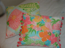 Lily Pulitzer Floral Fabric Throw Pillow Pair Beach Tropical Pastel Parrot
