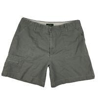 Eddie Bauer Women Size 14 Chino Khakis Shorts High Waisted Pockets Cotton Green