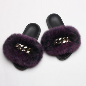2021 New Women Real Farm Fox Furry Fur Slippers Golden Chain Slides Plush Shoes