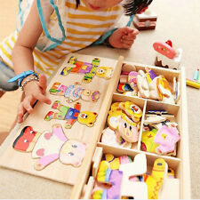 Wooden Dress-Up Bear Mix & Match Outfits Wood Box Puzzle Set Preschool Kids Gift