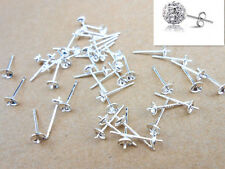 50PCS 925 Sterling Silver DIY Findings Supplies Fashion Ear Pin Stud Earrings