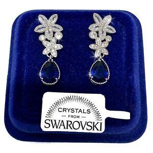 Fiori pendenti Orecchini donna pl. oro bianco 18K con Cristalli Swarovski Blu