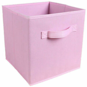 4X Foldable Canvas Storage Collapsible Folding Box Fabric Cube Cloth Bag Basket