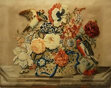 More details for impressive mid 19th century plush work of two birds on a flower basket - c.1860