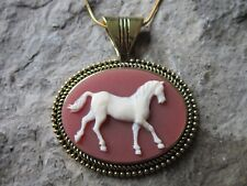 HORSE CAMEO GOLD PLATED NECKLACE - CREAM, CARNELIAN, BROWN - QUALITY - PONY