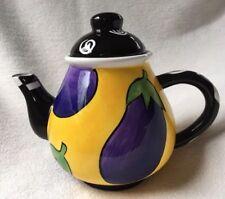 Milson  & Louis Eggplant Teapot Yellow And Purple Handpainted