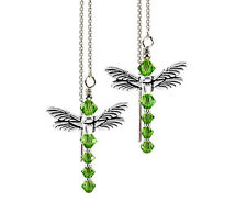 *CKstella*  Dragonfly Peridot Green Sterling Silver Ear Thread w/ Swarovski
