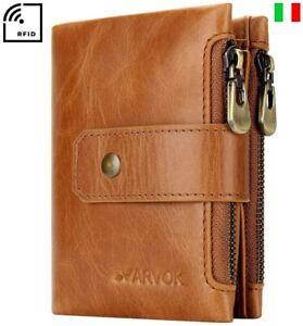 Portafoglio Uomo in Vera Pelle RFID Porta Carte di Credito Slim Verticale Grande