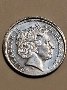 MISSTRIKE 5 CENT ERROR COIN, 2005 AUSTRALIAN 5 CENT ERROR COIN, HIGH GRADE