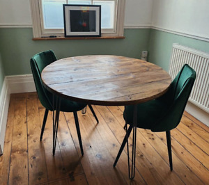 Round Dining Wooden Table - For Home Indoor or Garden Outdoor Use - Rustic Recla
