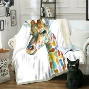 3D Color Giraffe NAO89 Warm Plush Fleece Blanket Picnic Sofa Couch Quilt Bed Amy