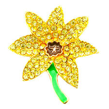 NEW GOLD YELLOW DAFFODIL FLOWER DIAMANTE CRYSTAL BROOCH PIN BACK BOUQUET JOB LOT