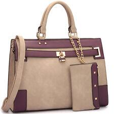 Dasein Womens Handbag Satchel Shoulder Bags w/ Padlock and Coin Money Purse Set