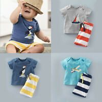 Kids Boys Casual Short-Sleeved T-Shirt Print+Striped Short Pants Suit 1-6Years