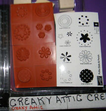 STAMPIN UP POLKA DOTS AND PETALS 8 RUBBER STAMPS CIRCLE FLOWERS
