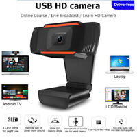 HD Webcam with Microphone USB Driver Free Computer Web Camera for Windows 10 8 7