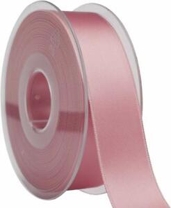 DUSTY PINK SATIN RIBBON 25m ROLL 15mm WEDDING CHRISTENING NEW BABY DOUBLE SIDED