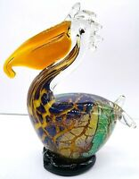 Art glass pelican bird hand blown sculpture paperweight iridescent blue gold 7x5