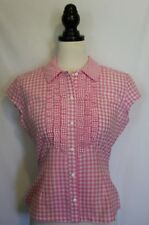 DOLL DELUXE ~ Rockabilly Pink White Gingham Check Fitted Short Sleeve Shirt 12