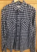Billy Reid Mens Casual Button-Down Shirt blue pink Long Sleeve Fit 2 SIZE XL
