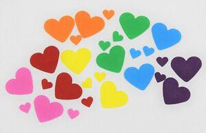 75 x RAINBOW PAPER CARD LOVE HEARTS CARD MAKING CRAFT EMBELLISHMENTS SCRAPBOOK