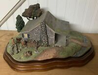 """The Danbury Mint """"GONE HUNTING"""" DEER, CABIN, CAMP With Wood Base"""