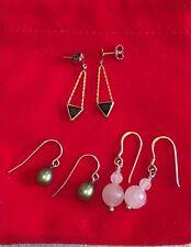 3 Pairs Of Gemstone Drop Earrings - Amethyst, Onyx, Green Pearl & Rose Quartz