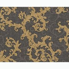 VERSACE BAROQUE FLORAL TRAIL LUXURY TEXTURED WALLPAPER - BLACK / GOLD - 96231-6