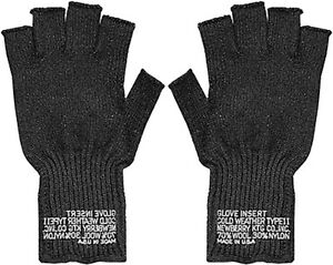 Fingerless Wool Gloves US Made Knit Ragg GI Tactical Military Army Outdoor Warm