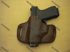 Fits Glock,S&W,Taurus.... Belt Slide Cross Draw Leather Holster L/ H Brown Large