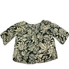 Hilo Hattie Top Blouse Ivory Green Leaf Leaves Hawaii Hawaiian Original Size 3XL