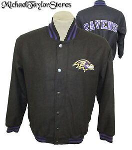Baltimore Ravens NFL Men's Snap-Up Embroidered Wool Blend Jacket