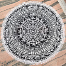 Black Mandala Tapestry Round Yoga Mat Boho Beach Throw Round Blanket Wall Decor