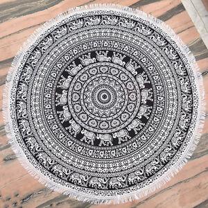 Black Mandala Tapestry Round Yoga Mat Boho Beach Throw Round Blanket Wall Decor