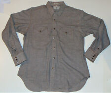 VINTAGE MEN'S RALPH LAUREN 'POLO WESTERN' COTTON SHIRT! LS! CHECKS/METAL SNAPS L