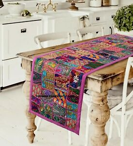 Indian Tapestry Wall Hanging Table Runner Patchwork Sari Handmade Embroidery