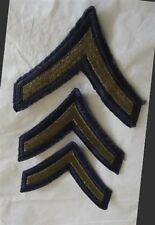 3 US Army Private E 2 Rank Insignias Patches Gold Embroidered on Blue