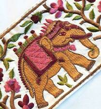 Wide Sewing Trim, Indian Elephant Parsi Satin Stitch ,Embroidered Trim 3 Yards