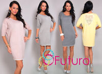 Elegant Women's Shift Dress 3/4 Sleeve Scoop Neck Tunic Size 8-12 FT324