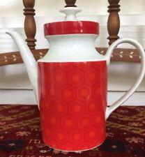 Mitterteich Bavaria RED / ORANGE Teapot Coffee Pot  WHITE TRIM - Germany